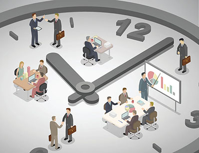 Clock illustration, people at work